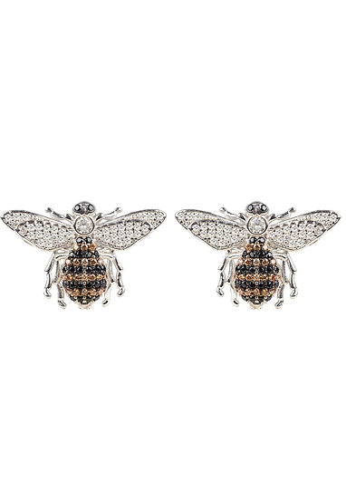 Honey Bee Stud Earrings Silver