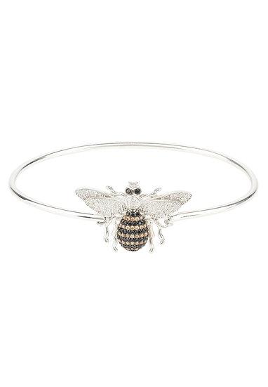 Honey Bee Bangle Bracelet Silver