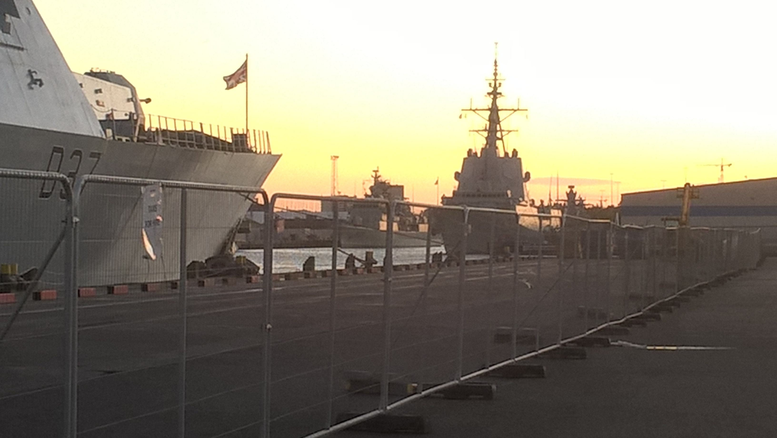 Nato ships at sunset over Belfast