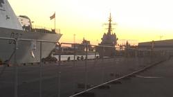 Nato ships at sunset over Belfast