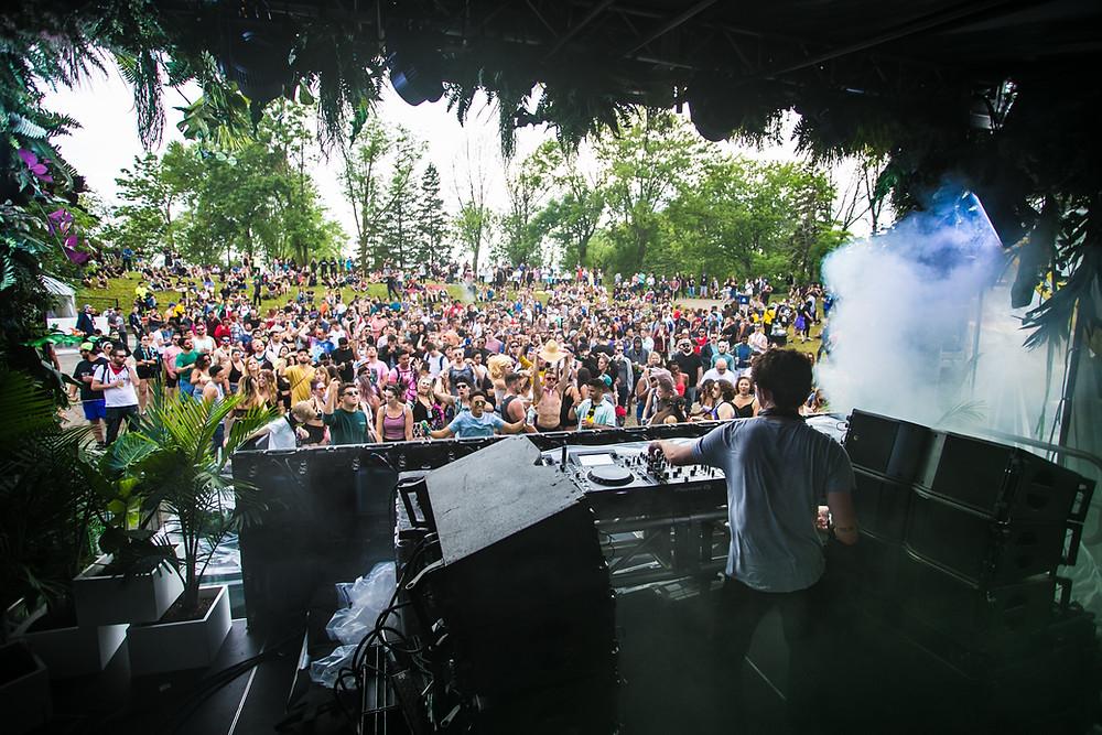 DJ vor Menschenmenge im Grünen