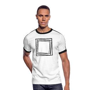 Retro-T-Shirt weiß mit EDM-Viereck und Schriftzug aus 100% Baumwolle