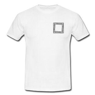 T-Shirt weiß mit EDM-Viereck und Schriftzug aus 100% Baumwolle