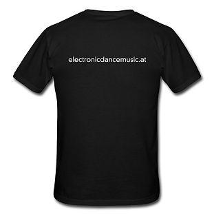 T-Shirt schwarz mit EDM-Viereck und Schriftzug aus 100% Baumwolle