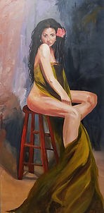 Girl and the Green Drape