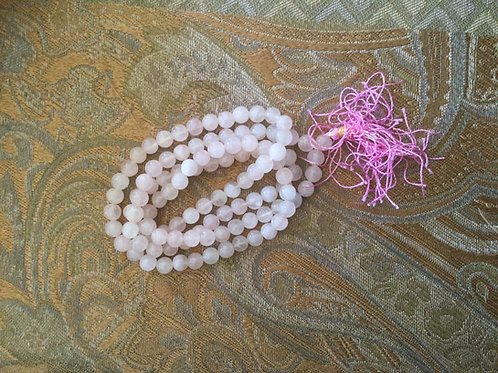 Mala bouddhiste de quartz rose