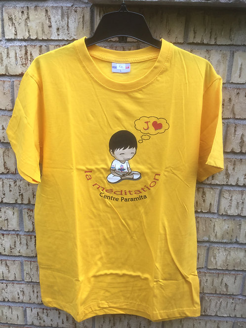 T-Shirt X-Large, yellow cotton with Logo J'aime la méditation