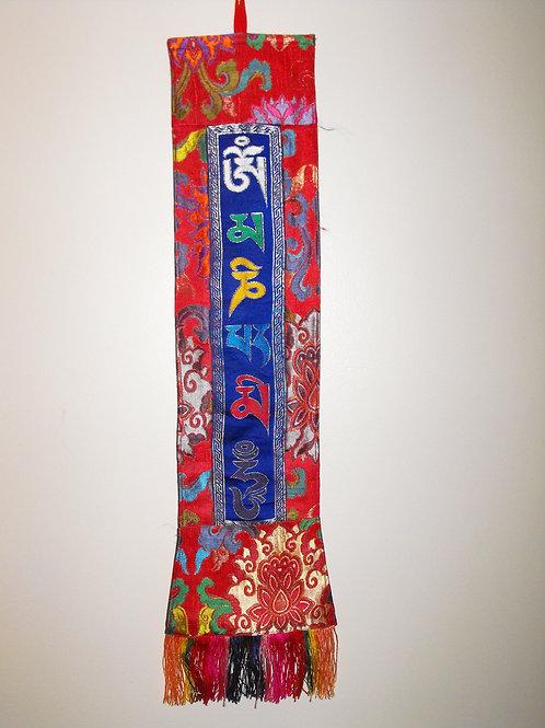 Bannière murale  bleu/rouge  Mantra Mani