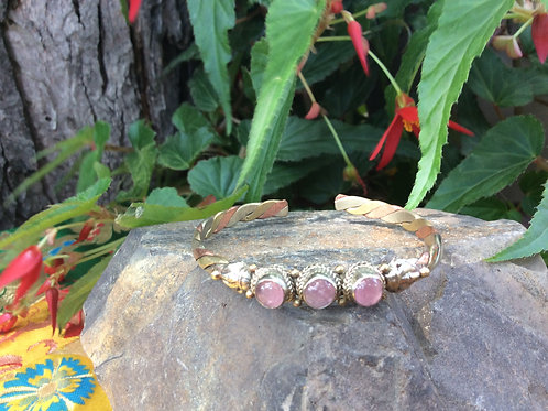 Cuff Bracelet handcrafted in India in 3 metals with pink Quartz