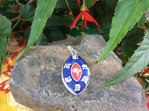 Pendant in blue and red inlaid  Compassion Mantra