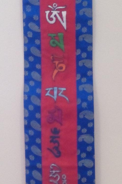 Bannière murale rouge/bleu Mantra Mani