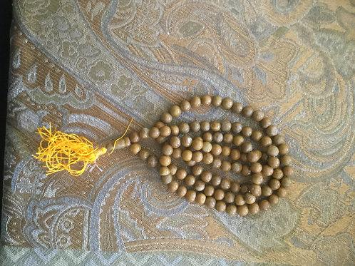 Buddhist mala with natural yellow Jaspe beads