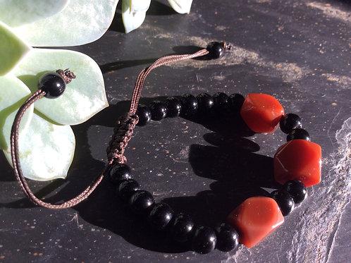 Bracelet handmade polished brown, black stones, adjustable