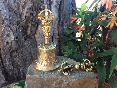 Tibetan 5 spokes bell and dordje, brass handcrafted (small)