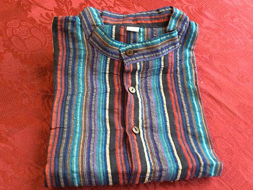 Chemise rayée bleue-rouge