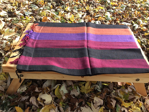 Shawl in light pashmina striped with red, pink, black and violet