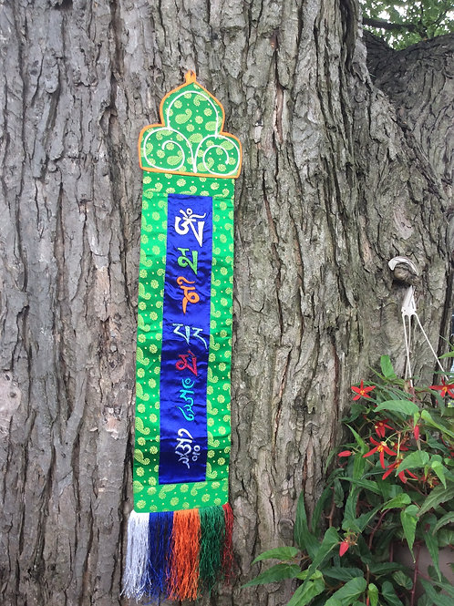 Banner with Compassion Mantra, blue and green silk and coton fabric