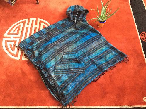 Pancho à capuchon style tibétain bleu et brun