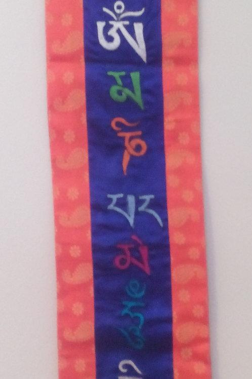Bannière murale bleu/orange Mantra Mani