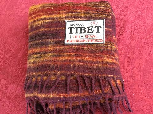 Châle Tibet rouge-brun-jaune #701