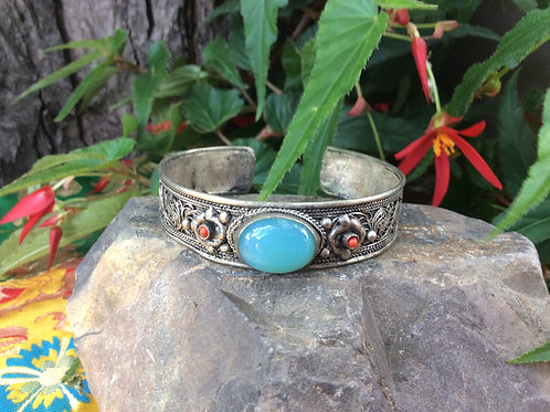 Cuff bracelet from India, adjustable with filigree and Blue Amazonite gemstone