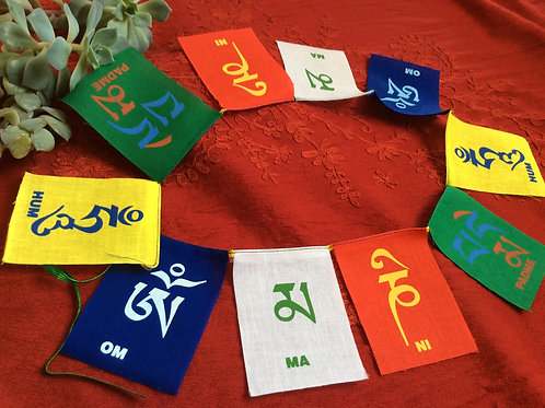 Flags with Compassion Mantra