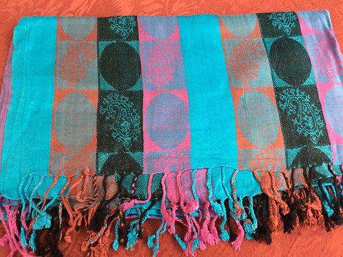 Châle pashmina bleu avec motif