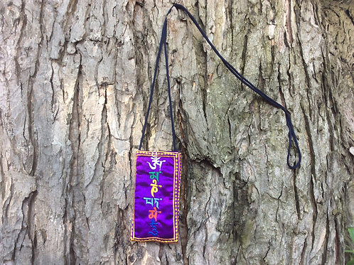 Eye glass case in purple satin with compassion mantra