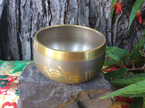 Tibetan singing bowl 9 cm, beige and gold