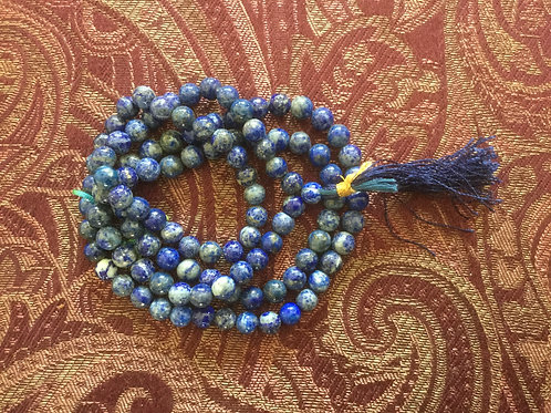 Buddhist mala with blue lapis colored beads