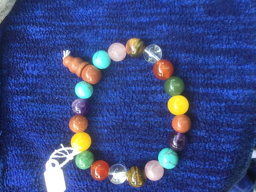 Bracelet with tumbled natural gemstones beads, multicolored on an elastic string
