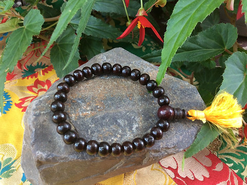 Buddhist whrist mala with 8 mm rose wood beads
