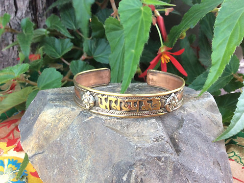 Metal bracelet with Compassion Mantra