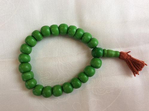 Bracelet mala en os coloré vert