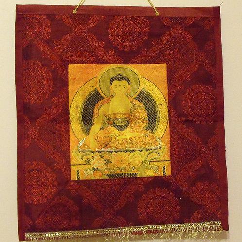 Thangka de tissu du Bouddha Shakyamouni (rouge)