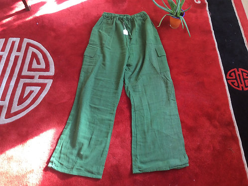 Trousers pure linen green from India