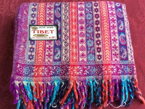 Châle épais Tibet rouge-rose #381