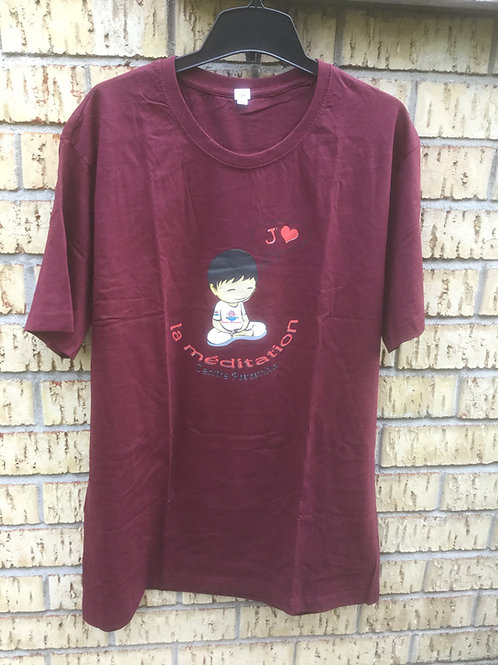 T-Shirt X-Large, dark red cotton with Logo J'aime la méditation