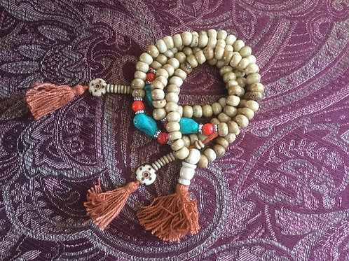 Buddhist mala in natural bone beads 66 cm
