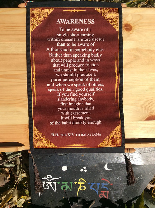 Banner with message on Awareness by HHDL