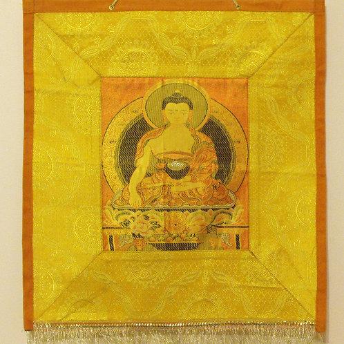 Thangka de tissu du Bouddha Shakyamouni (jaune)