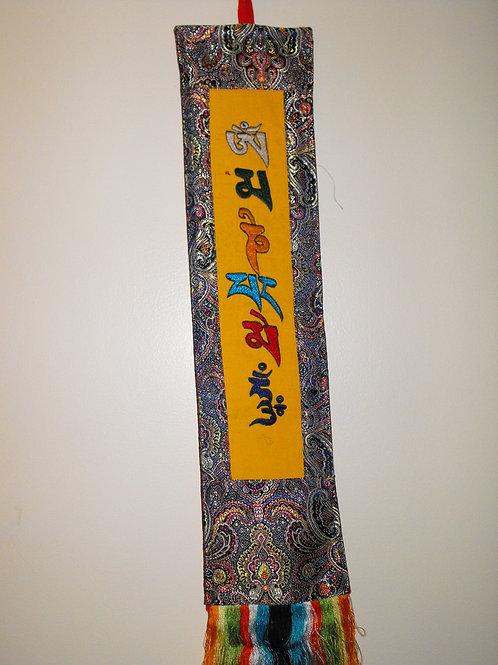 Bannière murale  jaune/gris Mantra Mani