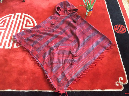 Tibetan style hooded poncho with red wool like fabric