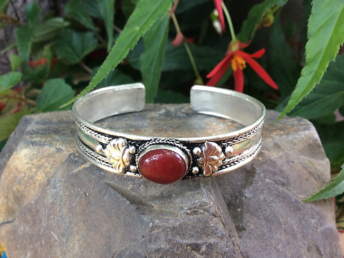 Cuff bracelet from India, adjustable with natural red Jaspe stone