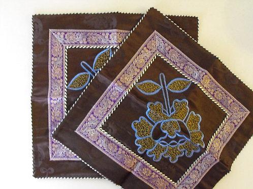 Couvre coussin brun, ensemble de 2