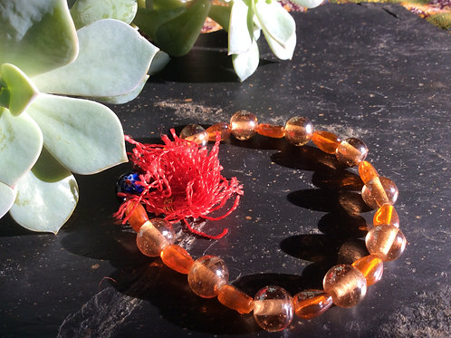 Bracelet de billes de verre orange
