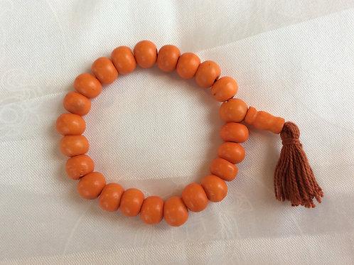 Bracelet mala en os coloré orange