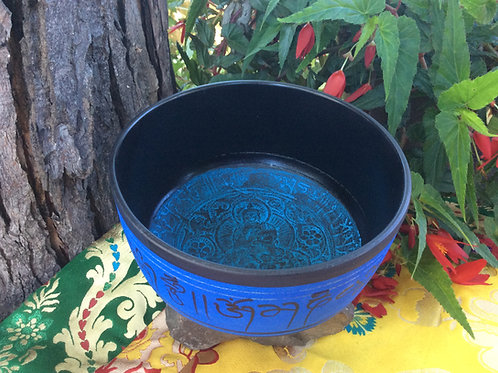 Blue painted singing bowl 17 cm