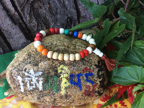 Buddhist wrist mala with multicolored bone beads