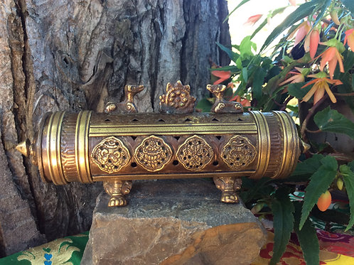 Incense burner in metal with Dharma Wheel and deers cylindrical